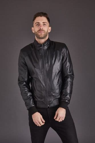Men's Leather Coat in Dark Blue: London
